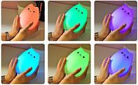 Сенсорный силиконовый Led светильник Кот, фото 1