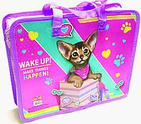 Папка-портфель на молнии с ткаными ручками для девочки Kitty 14007
