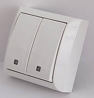 2209  LXL  TERRA  білий  Вимикач подвійний з підсвіткою