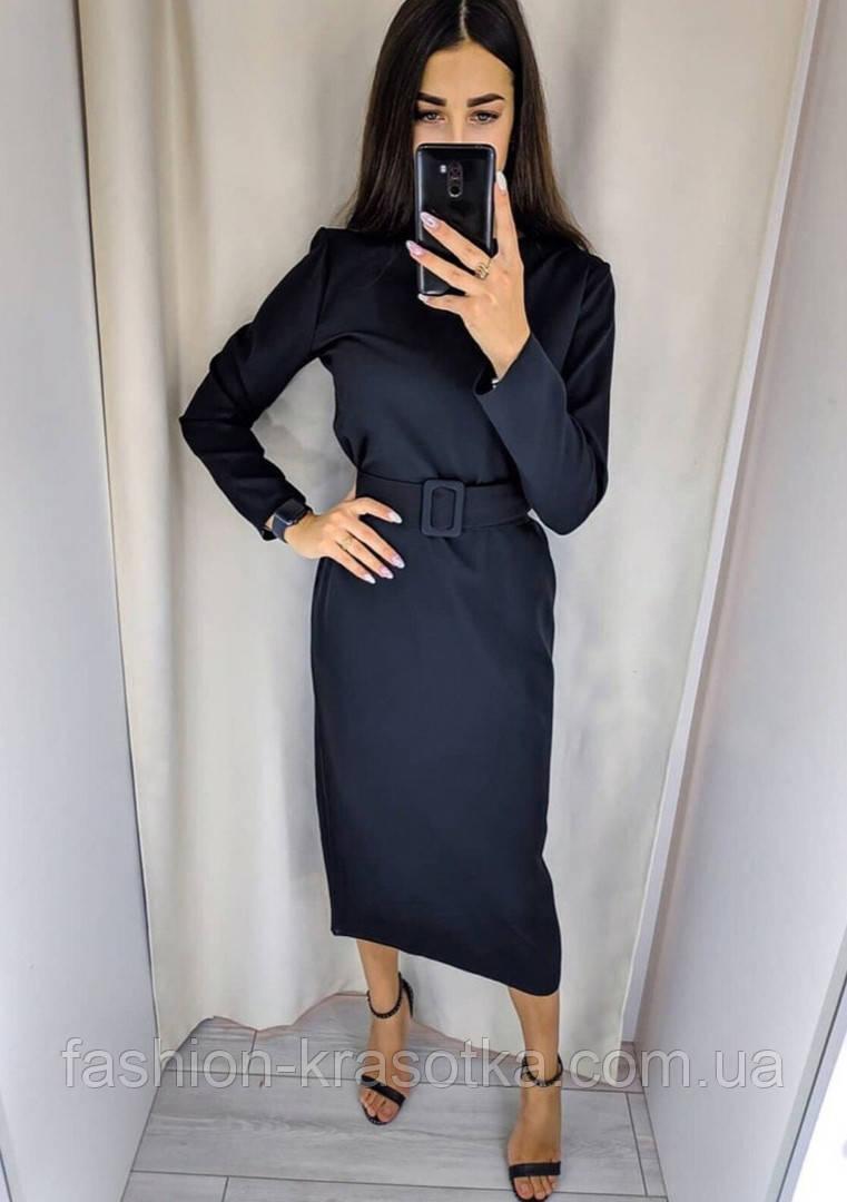 Модное удлиненное платье с поясом,размеры:42,44,46,48.