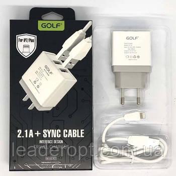 [ОПТ] Сетевой адаптер зарядное устройство Golf GF-U2 2 USB с кабелем Lightning iPhone 2.1A 220V