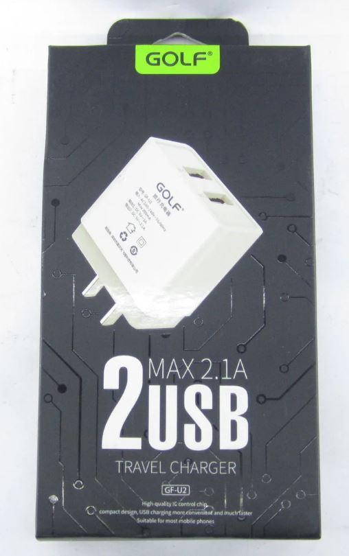 ОПТ Мережевий адаптер зарядний пристрій Golf GF-U2 2 USB A 2.1 220V