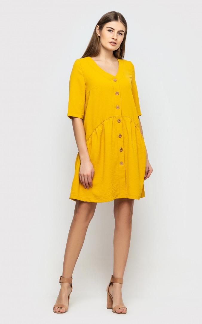 Платье на пуговицах (горчичное)