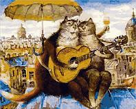 Картина для рисования по номерам на холсте Коты Петербургский роман 50х40см