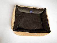 Двусторонний лежаки размер 65x80 золотой и коричневый для средних пород собак от 10 до 19 кг