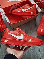 Мужские кожаные кроссовки Nike Air Force 1 LV8 (красные) KS 1389