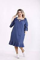 J01442-2 | Джинсовое синее платье молодежное большого размера
