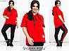 Спортивный костюм женский из двунитки с короткими рукавами (2 цвета) PY/-1001 - Красный