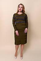 Женское трикотажное платье оливкового цвета. Размер 48, 50, 52  Хмельницкий