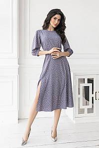 Лиловое Платье в горошек с разрезом