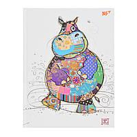 "Блокнот А5/96 КЛ. 7БЦ, фольга золото+Уф.выб. ""BugArt. White hippo"" YES"