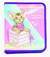 Папка для тетрадей Картон на змейке для девочки Kidis В-5 Кошечка-kitty car 14015
