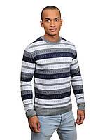 Легкий свитер мужской с орнаментом, размер - L,XL, цвет - серый