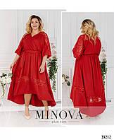 Женское, красивое свободного кроя платье с кружевом. Большого размера Р- 48-50, 52-54, 56-58, 60-62 красное