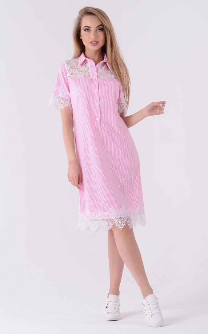 Трендові сукня-сорочка поло (рожеве)