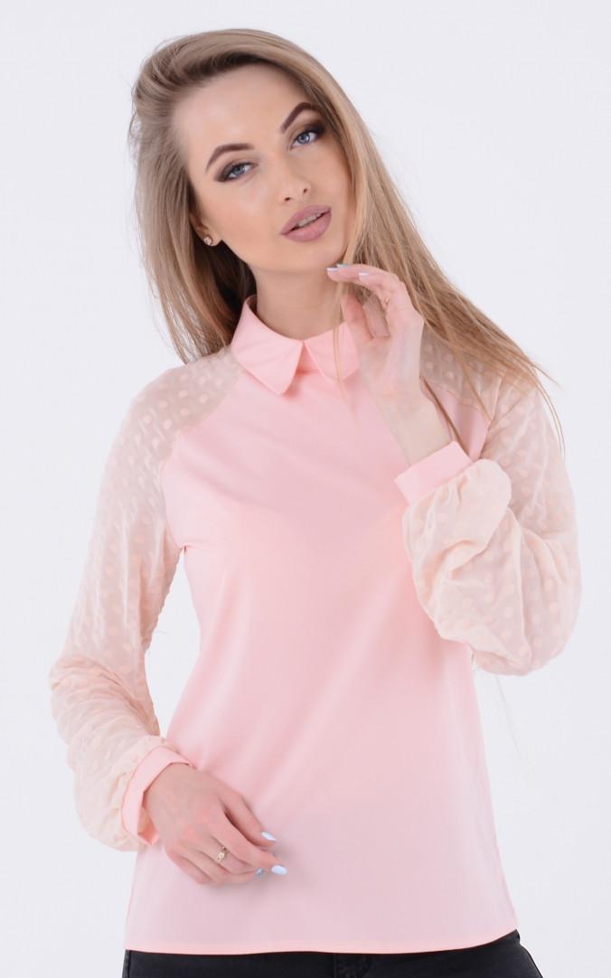 Модная блузка горох (розовая)