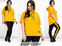 Спортивний костюм жіночий з двуніткі з короткими рукавами (2 кольори) PY/-1001 - Жовтий, фото 1