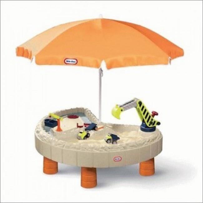Little Tikes Детская песочница стол Веселая стройка с зонтом 401N Children's sandbox table Merry building