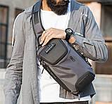Однолямочный рюкзак Bange BG-7082 кодовый замок 9л серый, фото 6