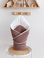 Вязаный конверт-одеяло Косы, капучино, фото 1