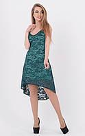 Ассиметричное платье гипюр (зеленое)