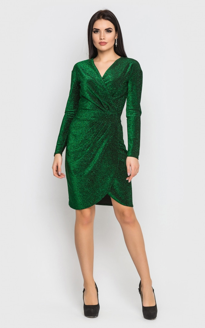 Роскошное короткое платье-мини (зеленое)