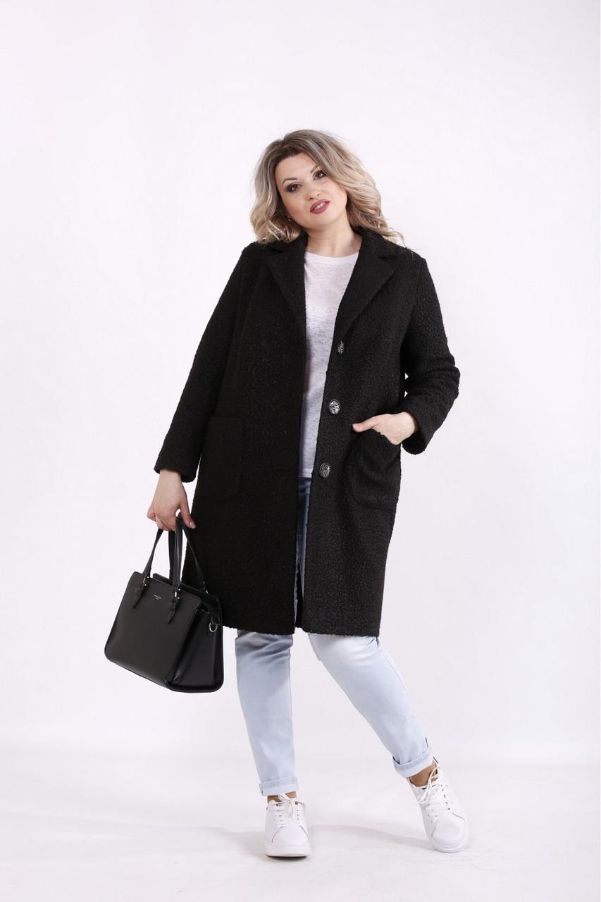 Чорне елегантне пальто жіноче до коліна великого розміру 42-74. T01480-1