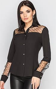 Рубашка с прозрачным рукавом (черная)