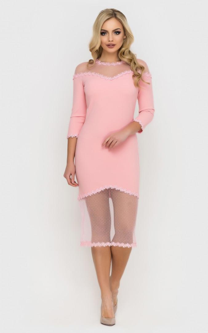 Изысканное платье-миди (розовое)
