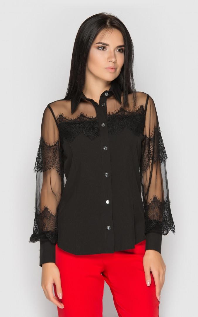 Черная блуза с прозрачными рукавами