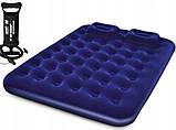 Матрас с 2-мя подушками и ручным насосом, 203-152-22см , фото 2