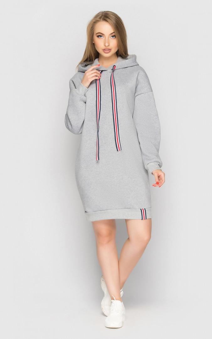 Платье теплое с капюшоном (светло-серое)
