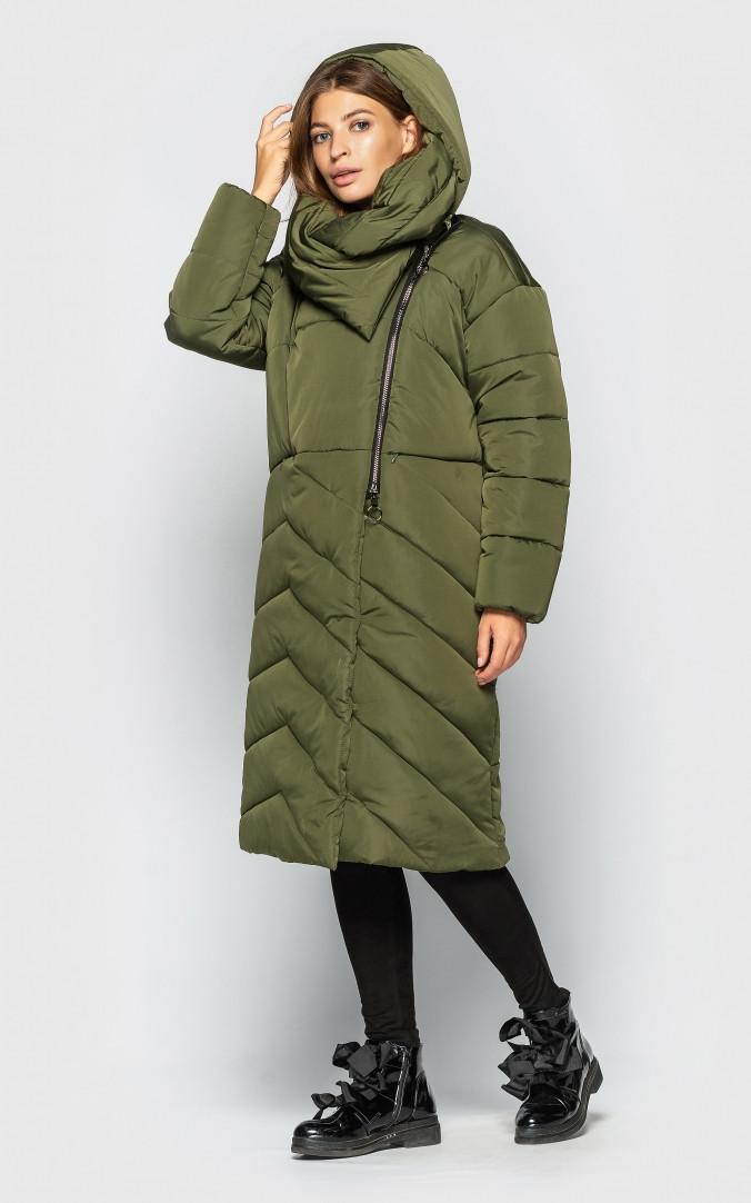 Удлиненная куртка с воротом (хаки)
