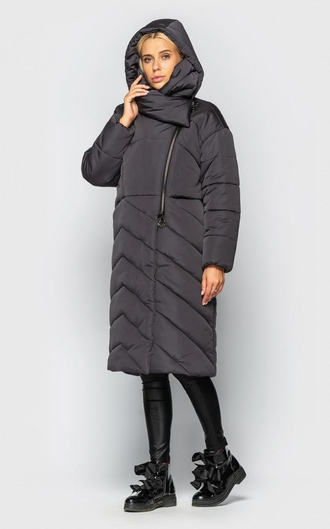 Подовжена куртка з коміром (сіра)