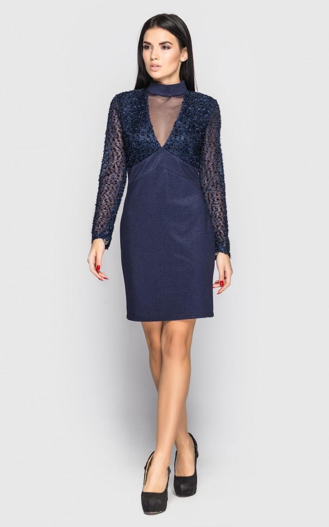 Вечернее платье с рукавом (темно-синее)