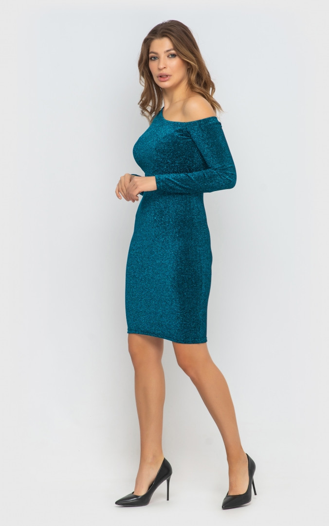 Платье облегающее (изумруд)