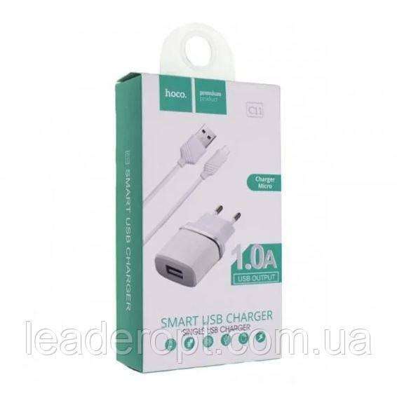 ОПТ Зарядний пристрій мережевий адаптер Hoco C11 1 USB 1A + micro USB Cable