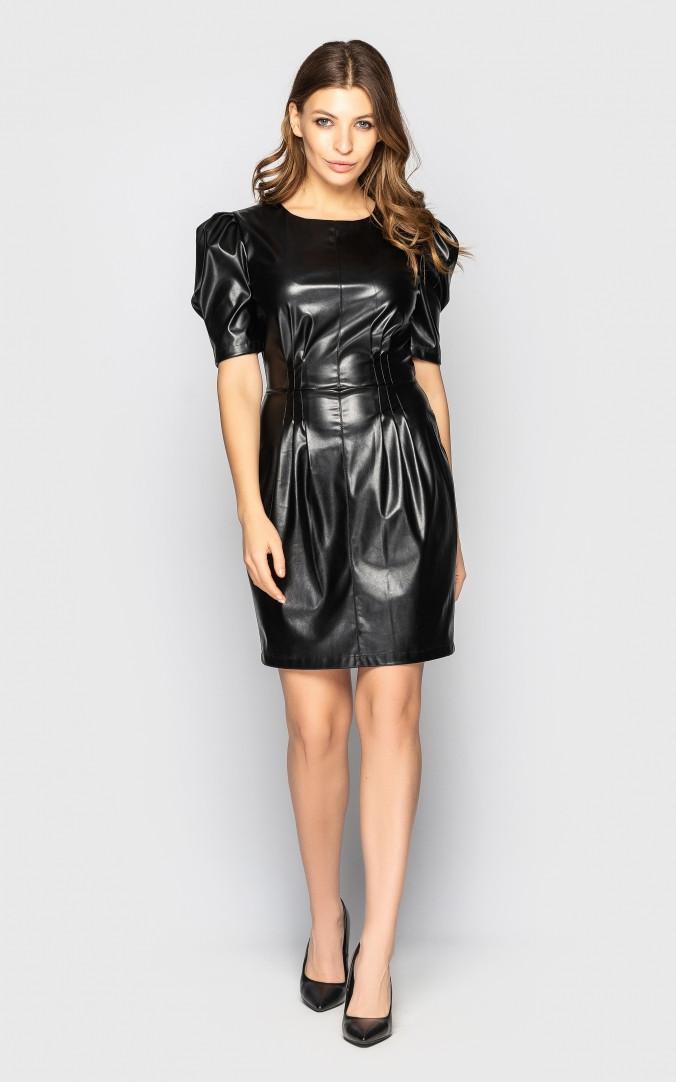 Изящное кожаное платье (черное)