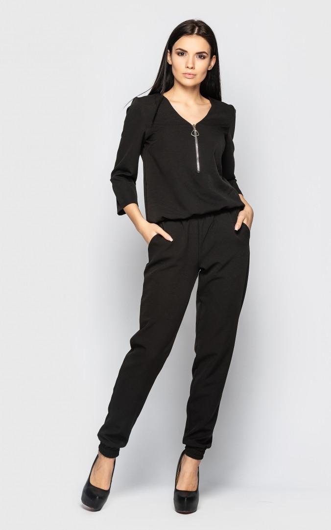Повседневный брючный костюм (черный)