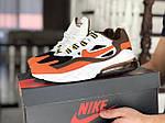 Мужские кроссовки Nike Air Max 270 React (бело-оранжевые) 9138, фото 2