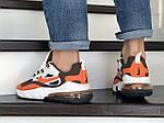 Мужские кроссовки Nike Air Max 270 React (бело-оранжевые) 9138, фото 3