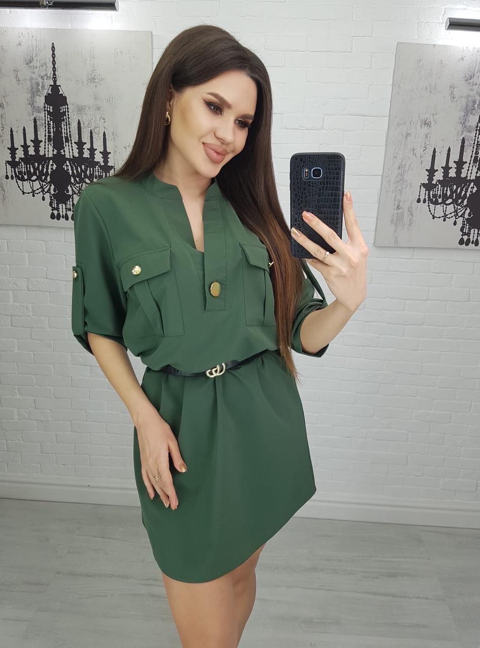 Платье рубашечного кроя с пояском хаки и коричневый