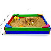 Детская квадратная песочница крышкой деревянная для детского сада
