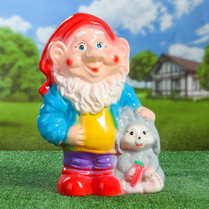 Садовый гном с кроликом 38 см керамика