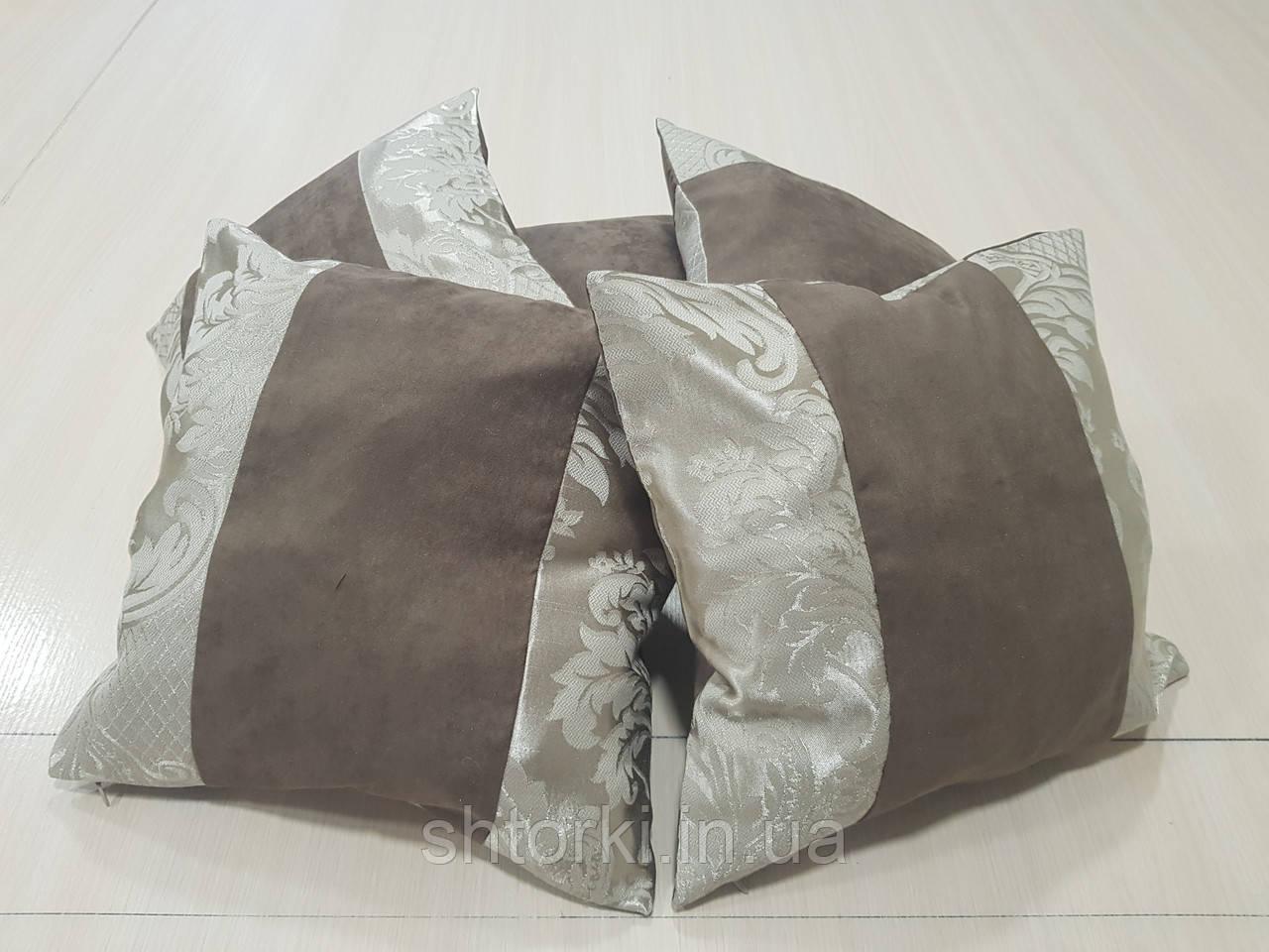 Комплект подушек Шоколад с бежевым узором 5шт