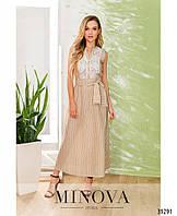 Красивое бежевое платье украшенное кружевом, размер от 42 до 48