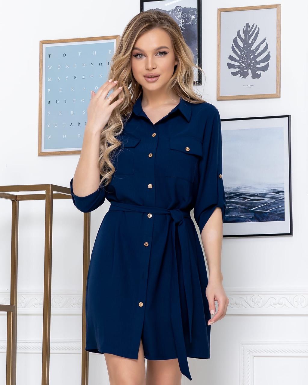Платье стильное с рукавом 3/4  и рубашечным воротником