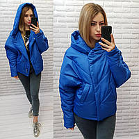 Куртка короткая оверсайз матовая арт. 187 электрик / ярко синяя / ярко синего цвета / ярко синий