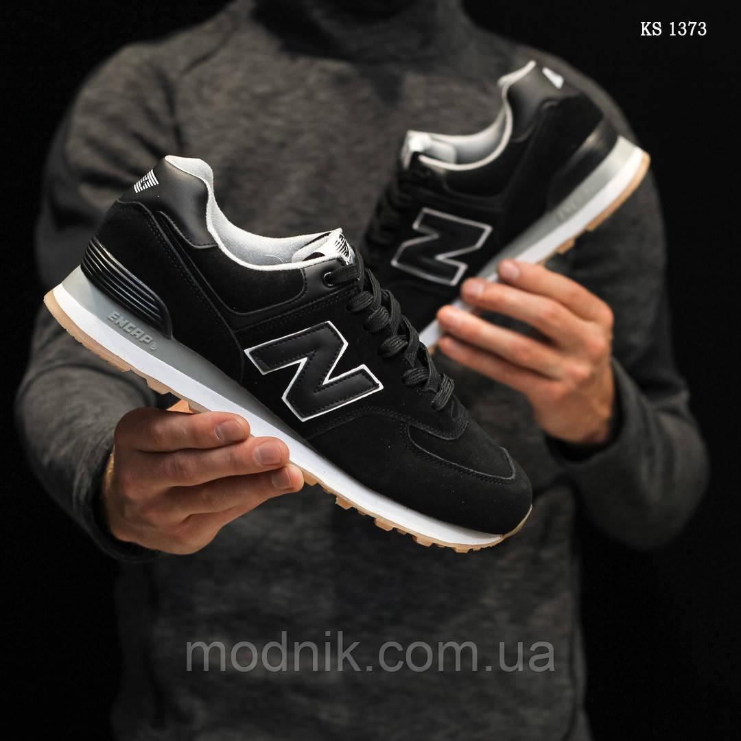 Мужские замшевые кроссовки New Balance 574 (черные) KS 1373