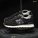 Мужские замшевые кроссовки New Balance 574 (черные) KS 1373, фото 4